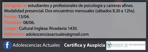 Curso de Actualización Profesional: Adolescencias Actuales, la Clínica Psicoanalítica y la Interdisciplina