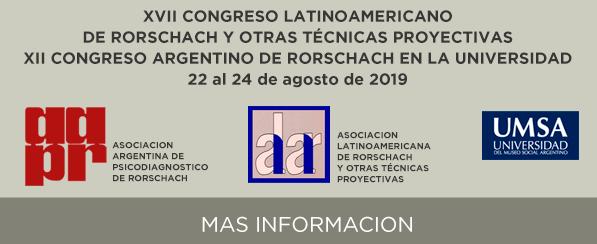 XVII Congreso Latinoamericano de Rorschach y otras Técnicas Proyectivas – XII Congreso Argentino de Rorschach en la Universidad